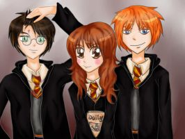 Harry Potter and Best Friends by mushii8