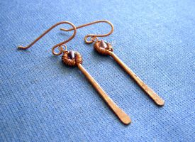 Copper Dangle Earrings by pikabee