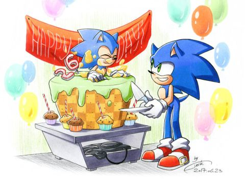 Happy 26th anniversary, Sonic! by FinikArt