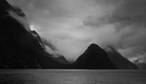 Milford Sound, as dark as it gets. by acorwyn