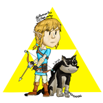 Chibi Link and Wolf Link by FlareVortex
