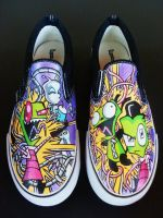 Invader Zim Handpainted Shoes by rachelliles352