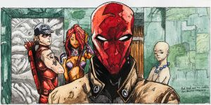 Red Hood and The Outlaws Panel (Water Color) by IanLammiArt