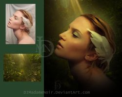 Portrait in green before and after by DJMadameNoir