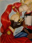 Jaune and Pyrrha by CherryBlossomUsagi