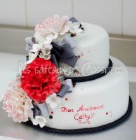 Red peony birthday cake by buttercreamfantasies