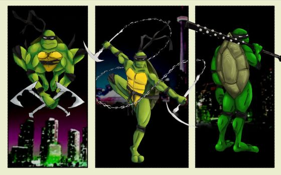 Ninja Turtles with different weapons by david-shultz