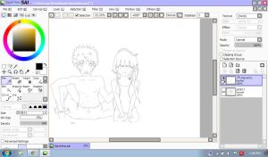NaruHina Commission Wip by kur0nek013