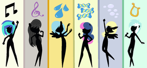 EQG Background Mane 6 sillouettes by Imtailsthefoxfan