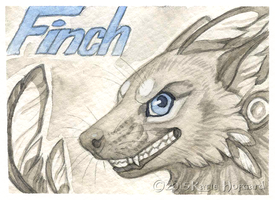 Finch Monochrome Badge by Shadow-Wolf