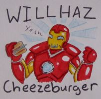 Iron Man and CHEEZBURGER by Dragoonfliy
