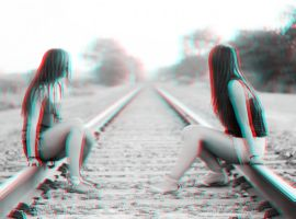 Girls on the Tracks 3-D conversion by MVRamsey