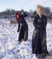Akuroku: Snowball fight by DillyShilly