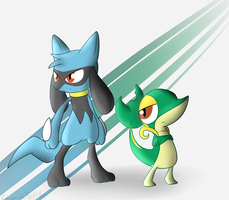 A Riolu and a Snivy by Wonder-Waffle