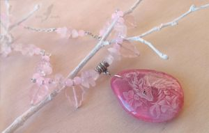Pink flower dragoness - stone painting necklace by AlviaAlcedo