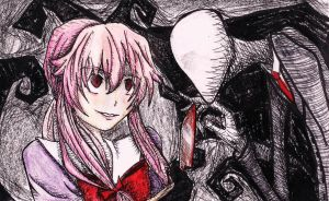 Yuno Gasai and Slenderman by SuperMiniGigi