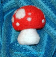 Red needle felted toadstool by The-Cute-Storm