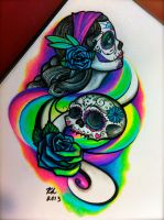 Day of the dead girl and sugar skull by knezak