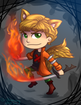 :Flaming guy and Flaming Swords: by Bunnairry