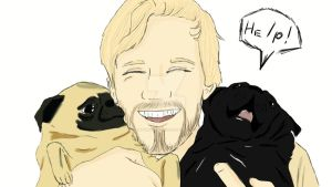 Pewdiepie and pugs by TheFunnyToaster