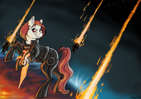 Fem!Shep Pony commission :) by reaperfox