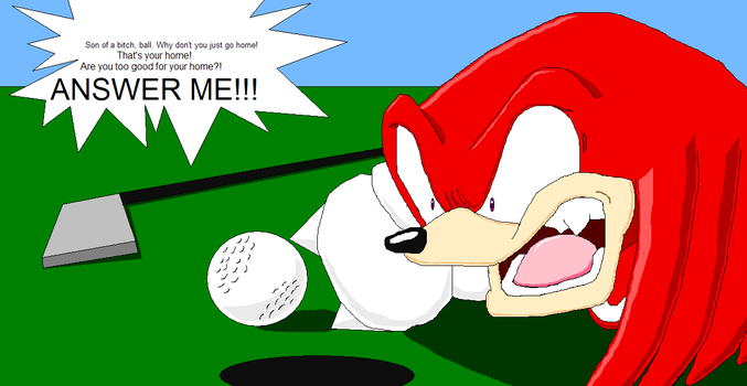 Knuckles Playing Golf by sonigoku