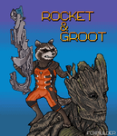 Rocket and Groot by foxmulder666
