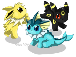 Chibi: Vaporeon Jolteon Umbreon by Acro-Sethya