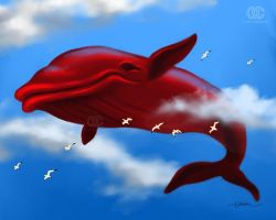 The Red Whale from the dream by orioncreatives
