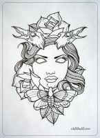 DEAD HEAD tattoo design OUTLINE by oldSkullLovebyMW