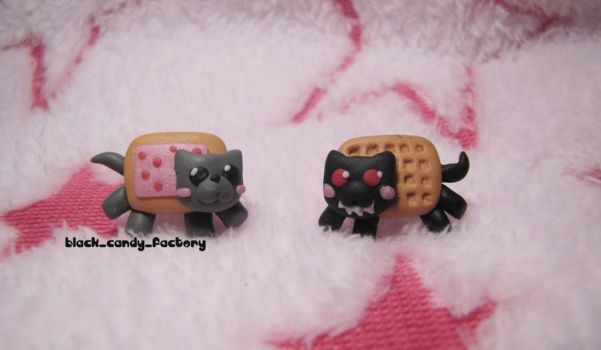 Nyan cat studs by gothic-yuna
