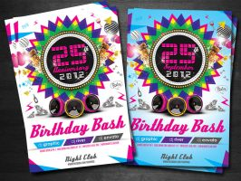 Colorful Birthday invitation Flyer Template by koza30