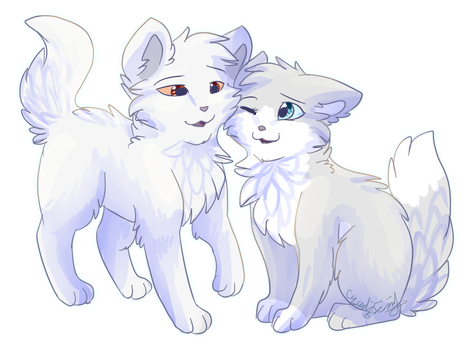 Whitestorm and Wolfsong by CascadingSerenity