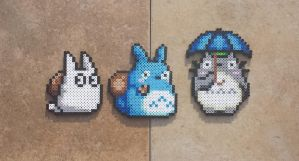 Totoros - Studio Ghibli Perler Bead Sprites by MaddogsCreations