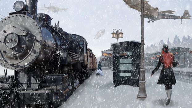 Gare steampunk en hiver by Fairling