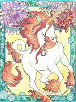 art nouveau unicorn watercolor by jupiterjenny