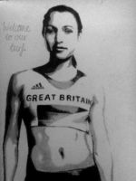 Jessica Ennis  Welcome to our turf drawing by joksie