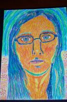 Oil Pastel Impressionist Self Portrait by blackstormwarrior