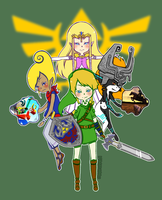 Link and his girls by Magicharu