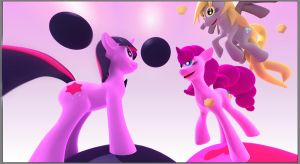Twilight, Pinkie and Derpy World by alienkilla