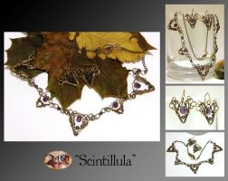 Scintillula- wire wrapped jewelry set by mea00