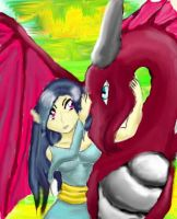 Girl and her Dragon by Whisper-of-a-phoenix