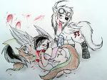 Winged Cross and Distraught feeding by WhiteNoiseGhost