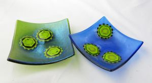 Hepatitis C Virus Fused Glass Dishes by trilobiteglassworks