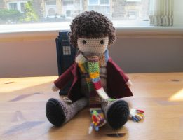 Doctor Who: 4th Doctor Crochet Doll (Commission) by fourthimbles
