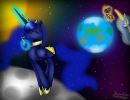 Princess Luna on the moon by Terezas474747