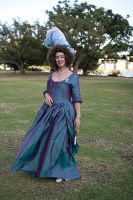 1780s Teal Zone Front Gown by aimeekitty
