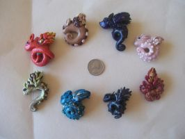 Small Clay Dragons by heathenflames