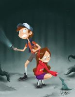 The twins of Gravity Falls by Hasaniwalker