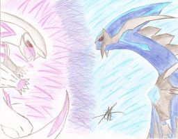 Dialga VS. Palkia by BlueSeasGaurdian